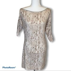 A/X Armani Exchange snakeskin print dress zip neck